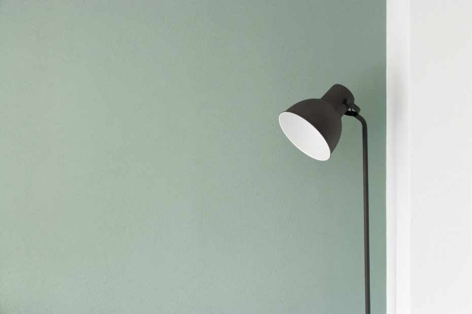 black floor lamp at the corner